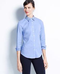 Jeweled Collar Shirt