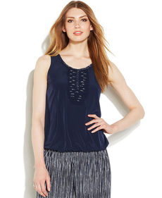 Alfani Petite Sleeveless Embroidered Bubble-Hem Top
