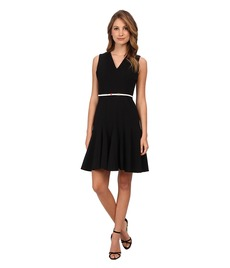 Calvin Klein Belted Lux Fit And Flare Dress