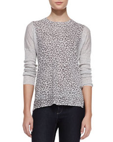 Leopard-Print Linen-Cotton Combo Sweater   Leopard-Print Linen-Cotton Combo Sweater
