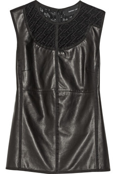 Derek Lam Guipure lace-trimmed leather and jersey top