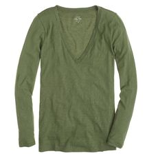 Vintage cotton long-sleeve V-neck tee