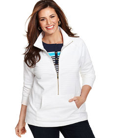 Charter Club Plus Size Active Half-Zip Jacket