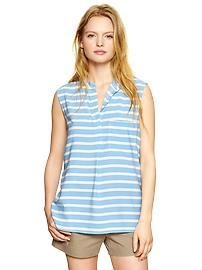 Fluid stripe split-neck top
