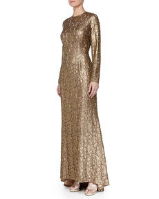 Carmen Marc Valvo Long-Sleeve Beaded Jacquard Gown, Burnished Gold/Nude