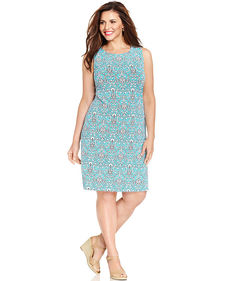 Charter Club Plus Size Sleeveless Damask-Print Shift Dress