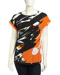Lafayette 148 New York Donna Abstract Print Silk Blouse, Black/Orange