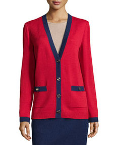 St. John V-Neck Contrast Wool-Knit Cardigan, Ruby/Ink