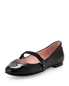 Taryn Rose Bay Nappa Leather Mary Jane Flat, Black