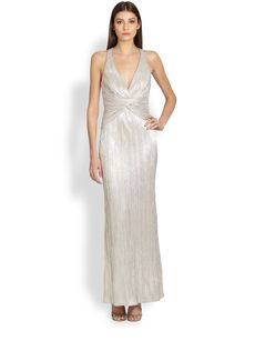 Laundry by Shelli Segal Foiled Jersey Twist Gown