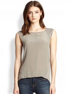 Saks Fifth Avenue Collection Silk Combo Top