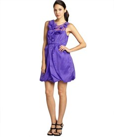 A.B.S. by Allen Schwartz violet silk chiffon sleeveless bubble dress