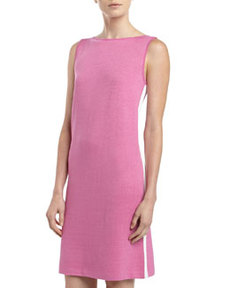 St. John Santana Knit Bateau-Neck Shift Dress, Pink Topaz