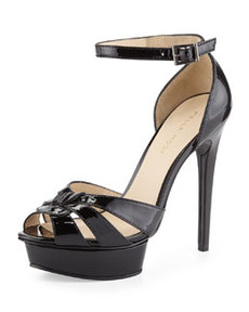 Pelle Moda Avi Patent Leather Peep Toe Sandal, Black