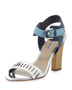 Charles David Justice Metallic Leather Chunky Pump, Silver/Blue