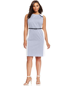 Jones New York Signature Plus Size Sleeveless Colorblocked Belted Dress