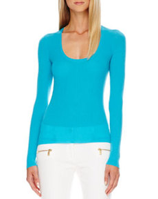 Scoop-Neck Cashmere Sweater   Scoop-Neck Cashmere Sweater