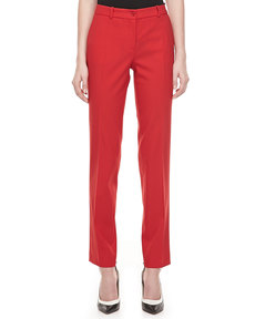 Michael Kors Samantha Skinny Wool Pants, Crimson