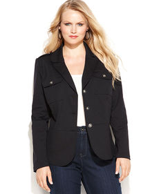 INC International Concepts Plus Size Patch-Pocket Military Jacket