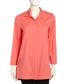 Lafayette 148 New York Marla Triangle-Seam Blouse, Dragonfruit
