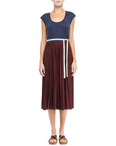 Bicolor Pleated Tie Dress   Bicolor Pleated Tie Dress