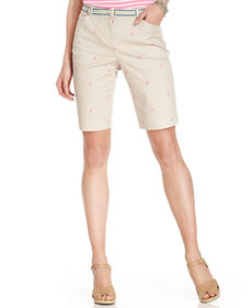Charter Club Embroidered Anchor Belted Bermuda Shorts