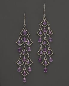 Badgley Mischka Amethyst And Brown Diamond Drop Earrings