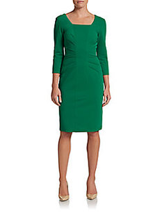 David Meister Ruched V-Back Dress
