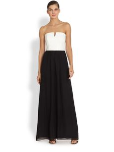 Laundry by Shelli Segal Leather & Chiffon Strapless Gown