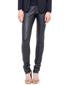 Akris punto Stretch Leather Skinny Pants