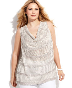 INC International Concepts Plus Size Sleeveless Sequined Cowl-Neck Sweater