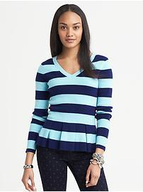 Striped Peplum Pullover