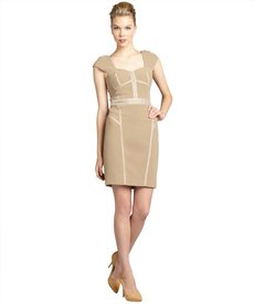 Rebecca Taylor sandstone stretch woven satin trimmed bustier dress