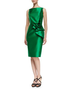 Sleeveless Ruffle Waist Cocktail Dress, Kelly Green   Sleeveless Ruffle Waist Cocktail Dress, Kelly Green