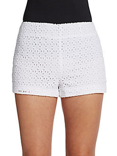 Saks Fifth Avenue RED High-Waisted Eyelet Shorts