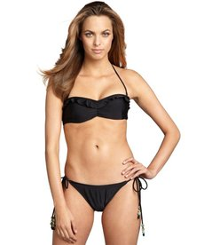 Shoshanna black nylon-blend beaded string bikini botton
