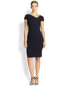 Escada Donde Asymmetrical Pleated Jersey Dress