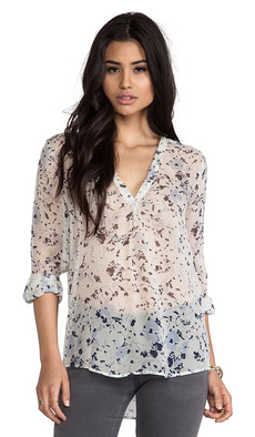 Joie Lerona Washed Floral Blouse in Blue