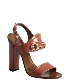 Gucci rose patent leather horsebit block heel sandals