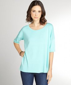 Three Dots seafoam cotton blend boatneck short sleeve top