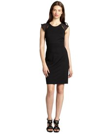 Andrew Marc black jersey sheer cap sleeve empire waist dress