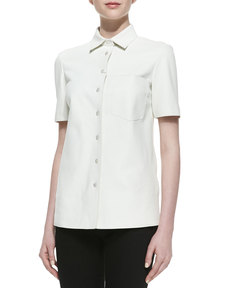Michael Kors Plonge Leather Short-Sleeve Shirt, Optic White