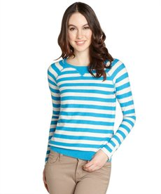Rebecca Taylor cream and turquoise striped cotton pullover sweater