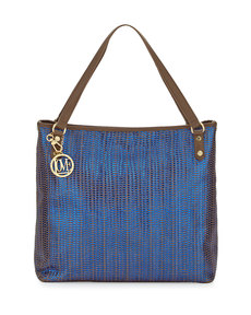 Moschino Borsa Metallic Woven PVC Tote Bag, Blue/Taupe