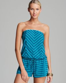Lucky Brand Coastline Striped Swim Cover Up Romper