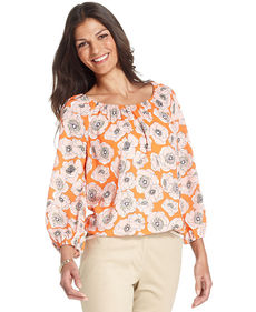 Jones New York Signature Petite Long-Sleeve Floral-Print Peasant Top