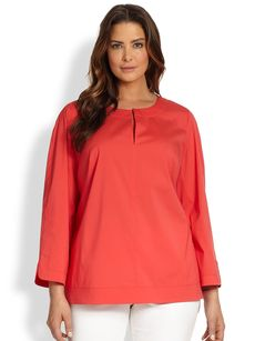 Lafayette 148 New York, Sizes 14-24 Julienne Keyhole Blouse