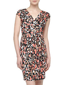 Lafayette 148 New York Elsa Leopard Print Cross-Front Dress, Chai