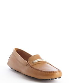 Tod's camel leather slip-on loafers