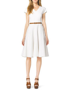Cap-Sleeve Linen Dress   Cap-Sleeve Linen Dress